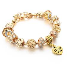 bracelet with heart charms images Hot selling 2016 heart charm bracelets bangles gold bracelets jpg