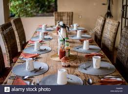 Dining Table Set Up Kasane Botswana Large Dinner Table Set Up With Coffee Cups