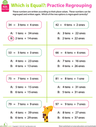 regrouping practice place value 2 worksheet education com