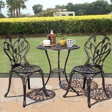 Copper Patio Table Equipment Outdoor Patio Bistro Set Tulip Design In Antique Copper