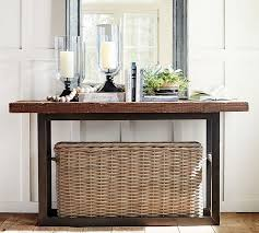 wood and iron sofa table griffin reclaimed wood console table pottery barn