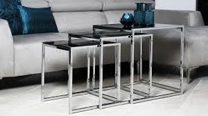 buy nest of tables black glass tables coffee tables that store inside eachother black