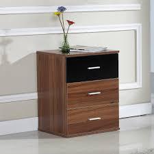 White High Gloss Bedroom Furniture Uk 3 Drawer High Gloss Bedside Table U2013 Black And Walnut U2013 Ideal Home