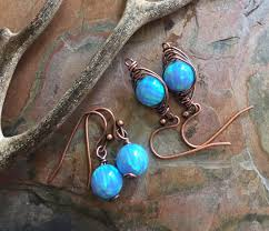 blue opal opal pendant necklace in antiqued copper simulated blue opal tree
