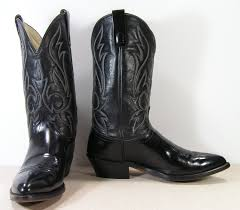 black cowboy boots mens 9 5 ee wide western vintage leather