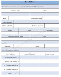 payroll change form word document payroll change form template