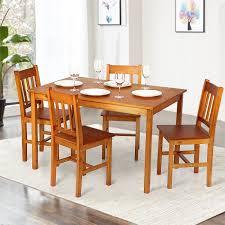 cuisine couleur miel ikayaa ensemble meubles à manger 1 table 4pcs chaises couleur miel