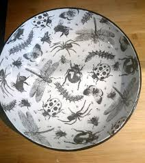 Unique Fruit Bowl Large Fruit Bowl Hand Painted Ceramic Bug Drip Design Salad Or