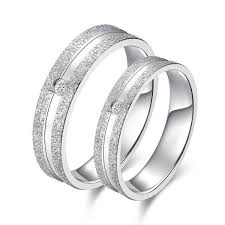 silver diamonds rings images Personalized matte surface silver diamond couple rings evermarker jpeg