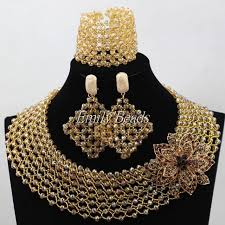 bridal choker necklace images Plain gold crystal beads jewelry set costume nigerian wedding jpg