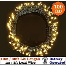 outdoor battery christmas lights 100 leds 10m outdoor battery fairy string lights warm white for