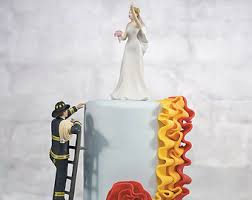 firefighter wedding cake fireman cake topper etsy
