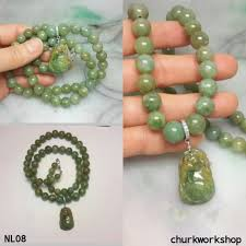 jade bead necklace images Yellowish green jade beads necklace churk work shop jpg