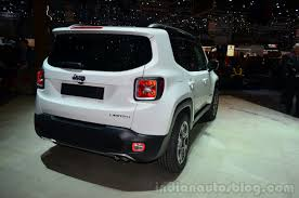 jeep cars white jeep renegade rear three quarter white car at geneva motor show