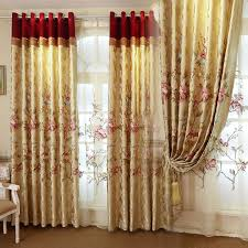 Draperies For Living Room Gold Floral European Style Blackout Curtain For Living Room