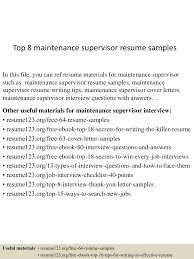 Maintenance Supervisor Sample Resume by Maintenance Supervisor Sample Resume Free Resume Example And