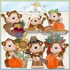 thanksgiving clipart monkey pencil and in color thanksgiving