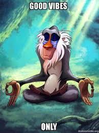 Good Vibes Meme - good vibes only rafiki meditating lion king make a meme