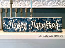 happy hanukkah signs happy hanukkah wood block with menorah by jobellawooddesigns