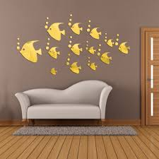 online buy wholesale wall decor mirror from china wall decor 8pcs 1set diy mirror wall stickers home decoration lovely mirror fish modern room decal art
