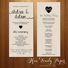 sided wedding programs printable wedding program sided front and back on etsy