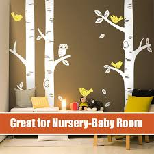 online get cheap birch wall aliexpress com alibaba group huge tree owl birds wall sticker big birch great wall decals for nursery baby kids room art mural vinyl wall decor stickers