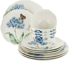 lenox butterfly meadow 12pc porcelain dinnerware set page 1