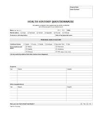 health history template personal medical history form medical