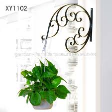 Garden Wall Decor Wrought Iron Xy1102 Metal Hanging Plant Basket Brackets Hooks Scroll Works Home