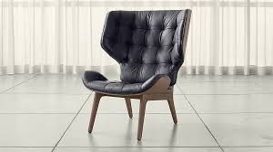 mid century modern leather lounge chair crate and barrel