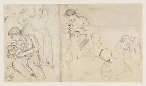 a woman and child sketches verso a male figure u0027 thomas
