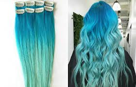 teal hair extensions mermaid ombre human hair extensions 1 pc blue ombre hair
