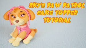 skye paw patrol cake topper fondant tutorial