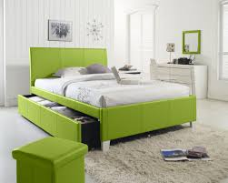 bedroom fashionable design with green wall mounted shelves and