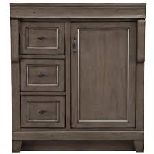 home decorators collection naples 30 in w bath vanity cabinet w vanity cabinet only in distressed grey with left hand drawers