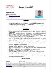 Sql Resume For Freshers Oracle Dba Fresher Resume