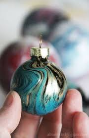 water marble glass ornament with nail tutorial