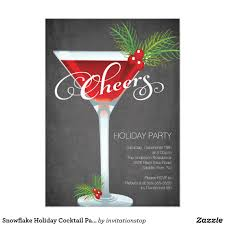 snowflake holiday cocktail party invitation fun modern cheers