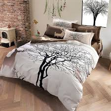 designer deer and tree bedding set king size brushed cotton