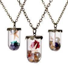 ocean summer fashion flower terrarium glass bottle necklace the