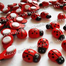 Ladybug Home Decor 500pcs Lot Wood Ladybug Stickers Easter Crafts Decoration