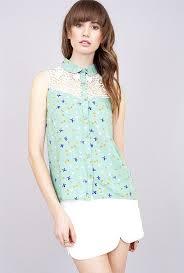 mint blouse blouse graceful wings bird print lace yoke sleeveless blouse