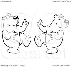 cartoon clipart of black and white two dancing polar bears