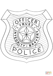 police officer badge coloring page free printable coloring pages