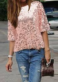 pink glitter sparkly sequin top neck sleeve fashion