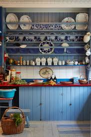 Country Blue Kitchen Cabinets For My Country Dream Kitchen Blue Kitchen Cabinet And Plate Rack