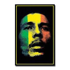 bob marley rasta color face blacklight wall poster