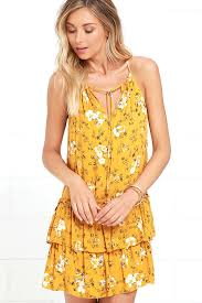 sun dress golden yellow dress floral print dress sundress 49 00