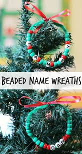 beaded name wreath craft for kids