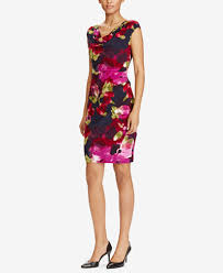lauren ralph lauren floral print cowl neck dress dresses women